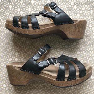 DANSKO black leather strappy wedge sandals EU38